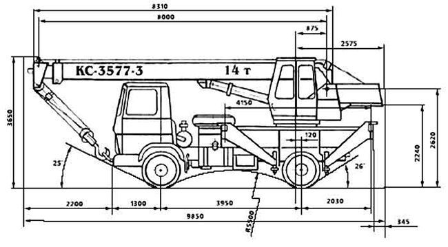 автокрана 14 тонн КС-3577